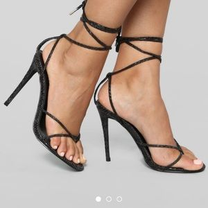 Fashion Nova lace up heels NEW IN BOX